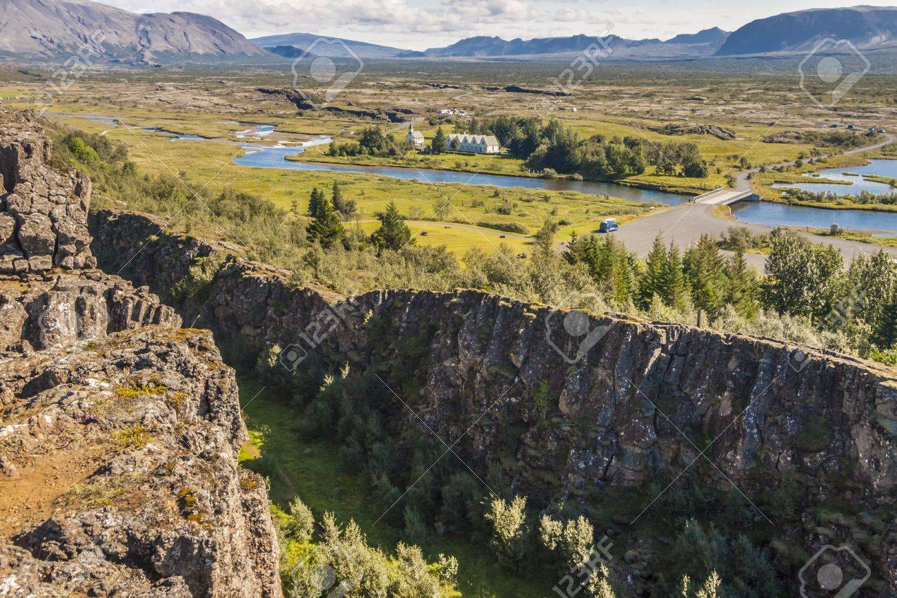 View on Thingvellir valley - Iceland The seam between the Eurasian and North American tectonic plates - 17881629