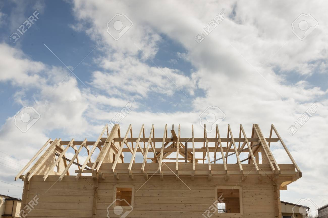 New Wooden Rafter Framing Stock Photo, Picture And Royalty Free ...