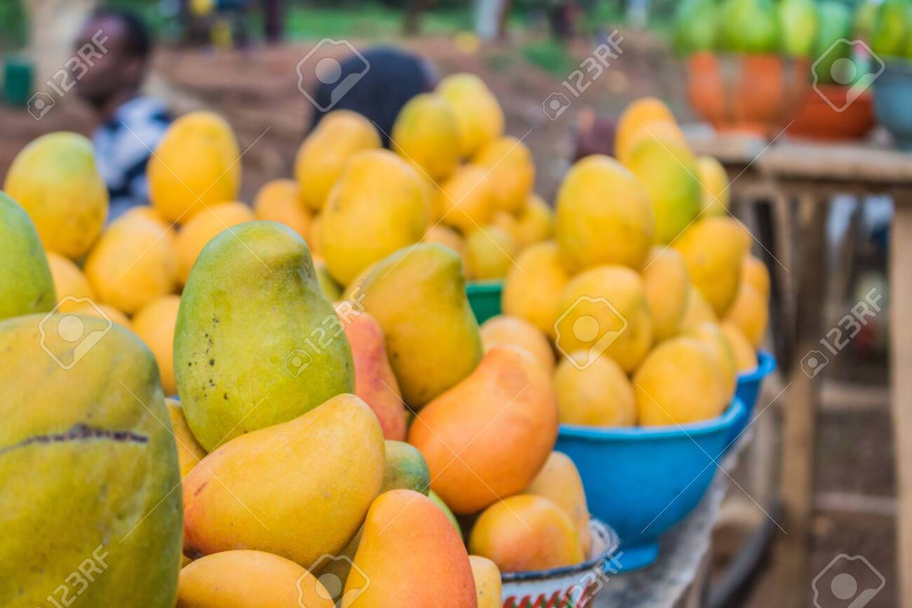Yellow Red And Green African Mango Fruits Arranged In Small