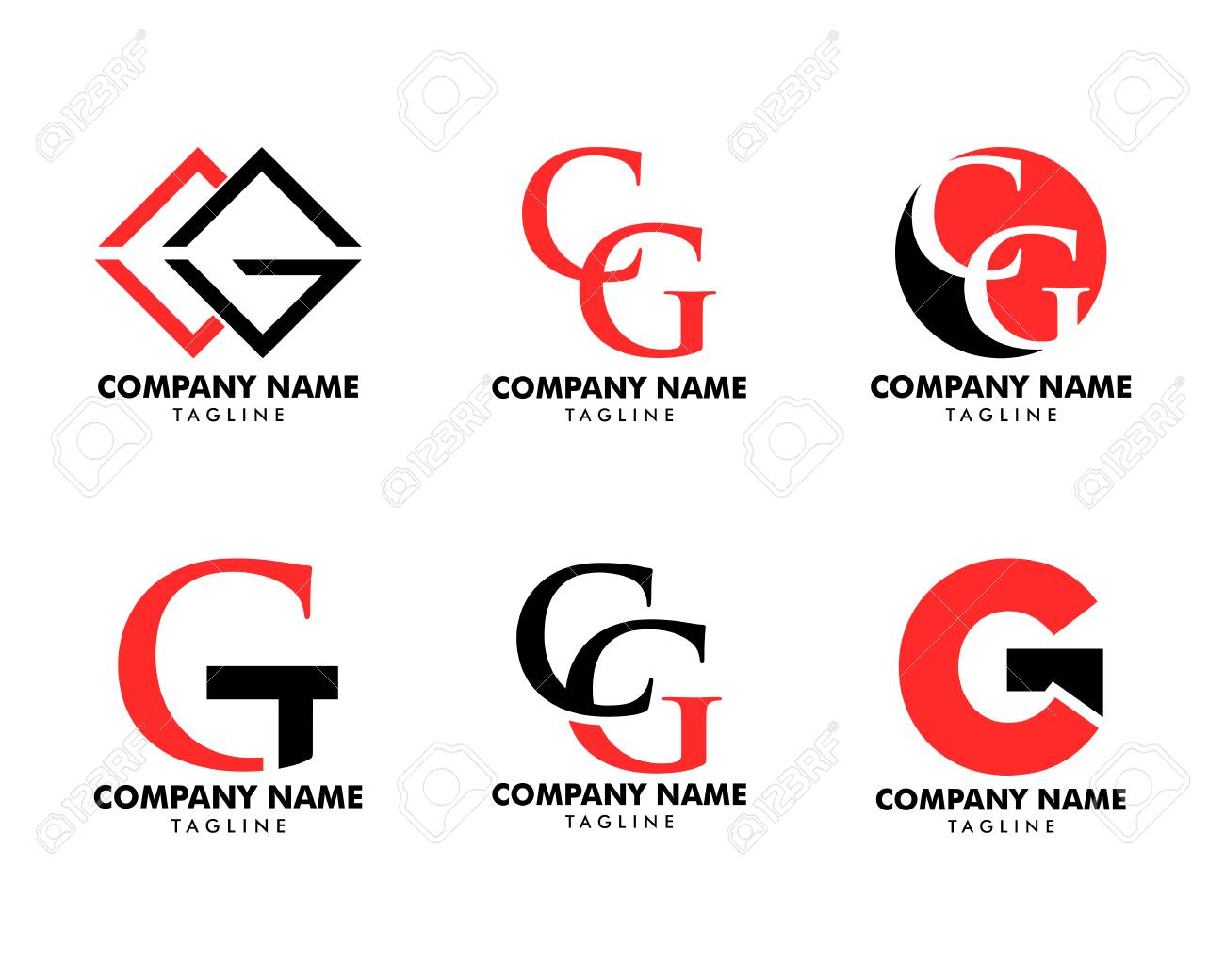 Set of Initial illustration of letter cg vector logo - 119512421