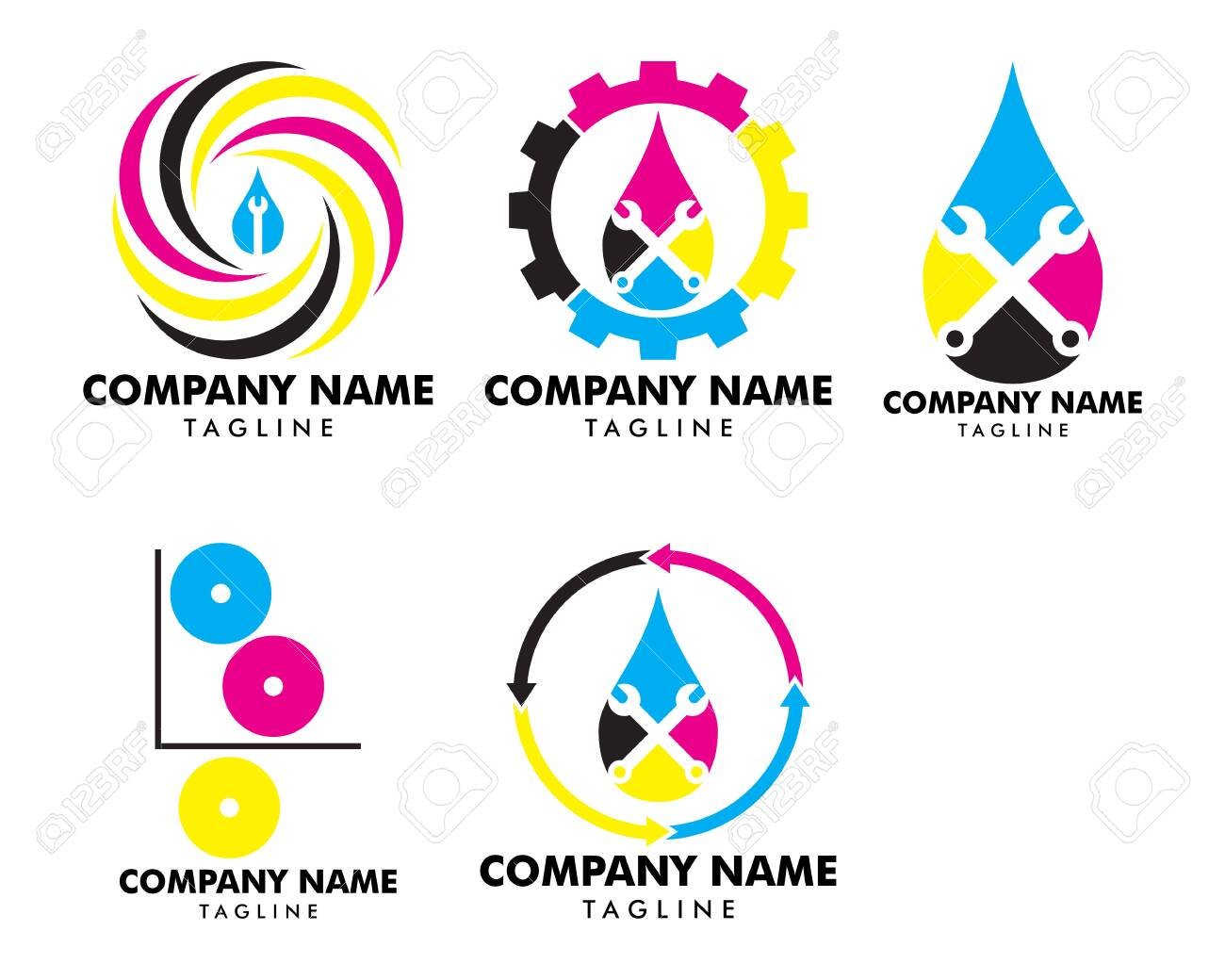 Set of Print service digital solutions colorful logo design idea,..