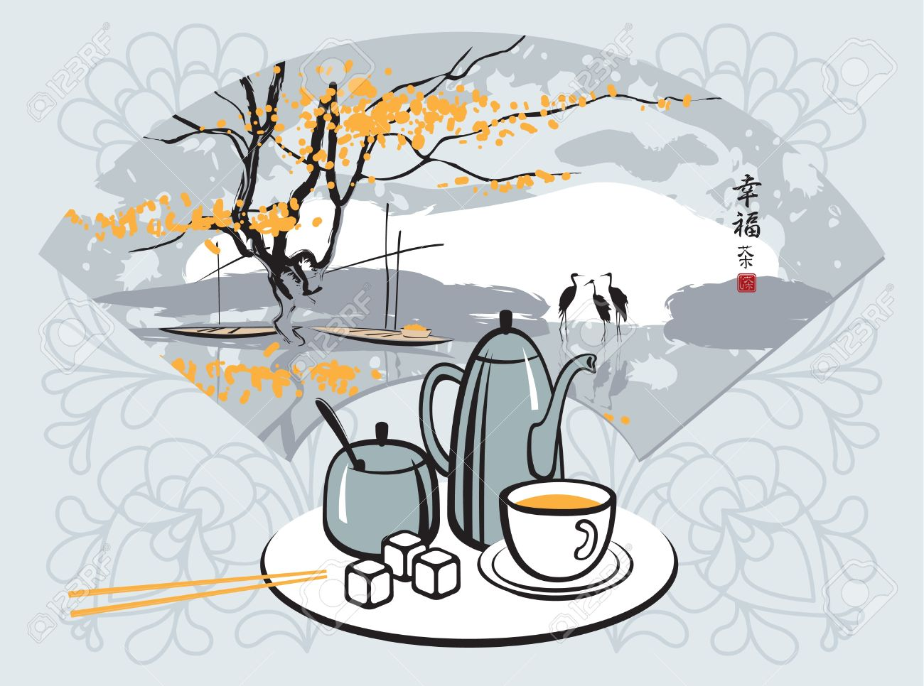 green tea with a Chinese fan with landscape Stock Vector - 11650831