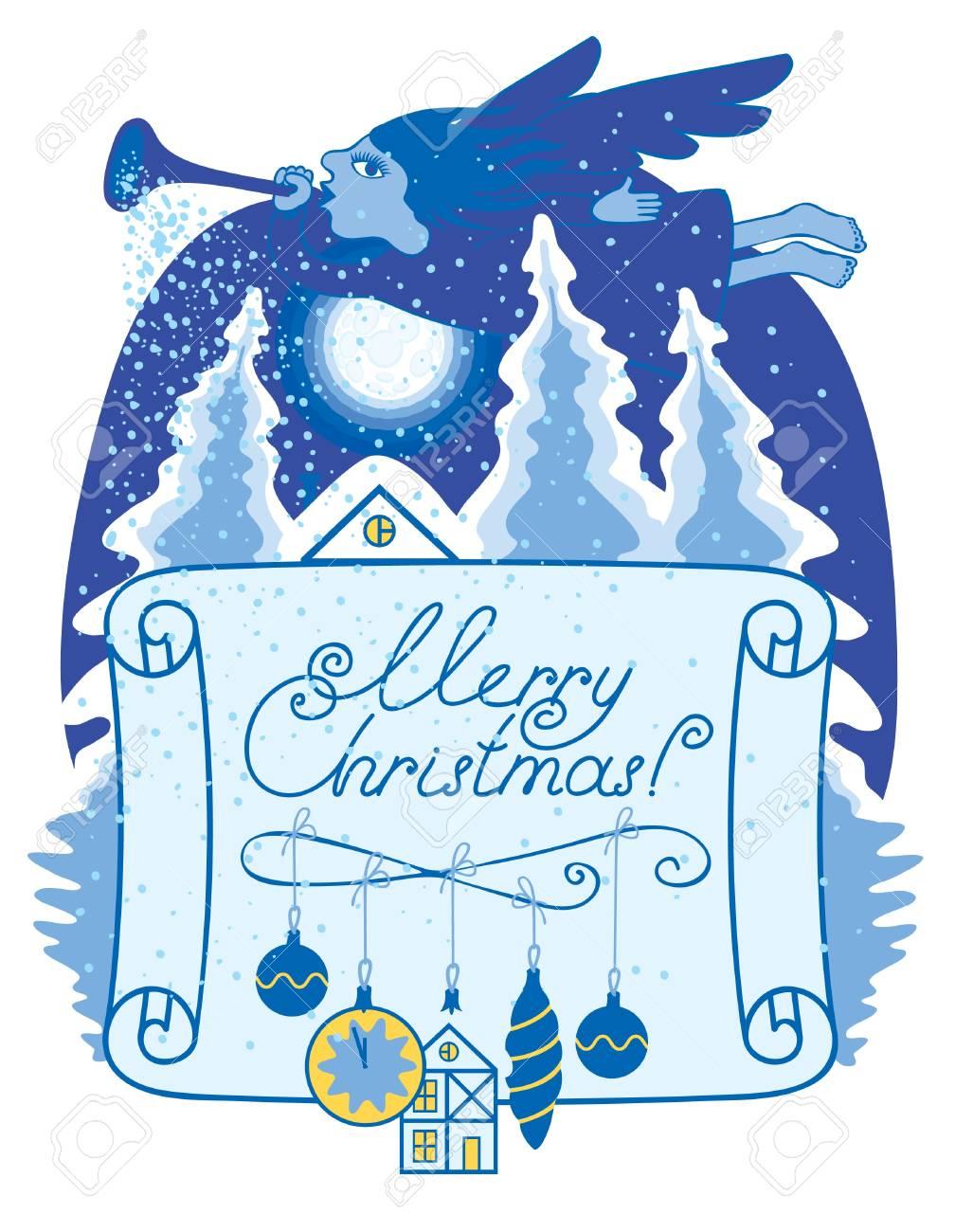 Christmas night an angel Stock Vector - 11650895