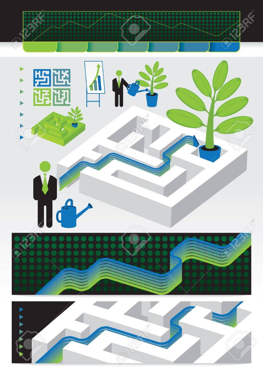 walk the labyrinth to win the financial Stock Vector - 11650952