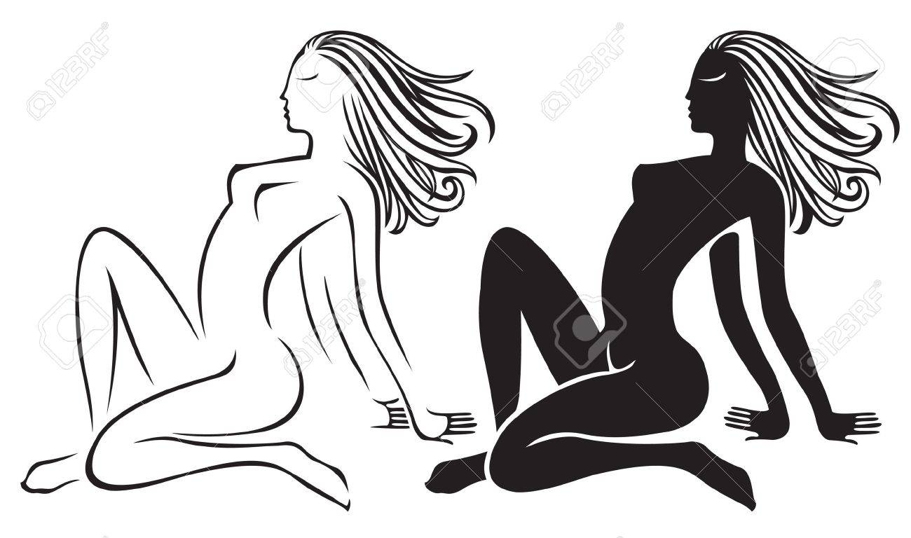 1,735 Nude Woman In Nature Stock Vector Illustration And Royalty ...