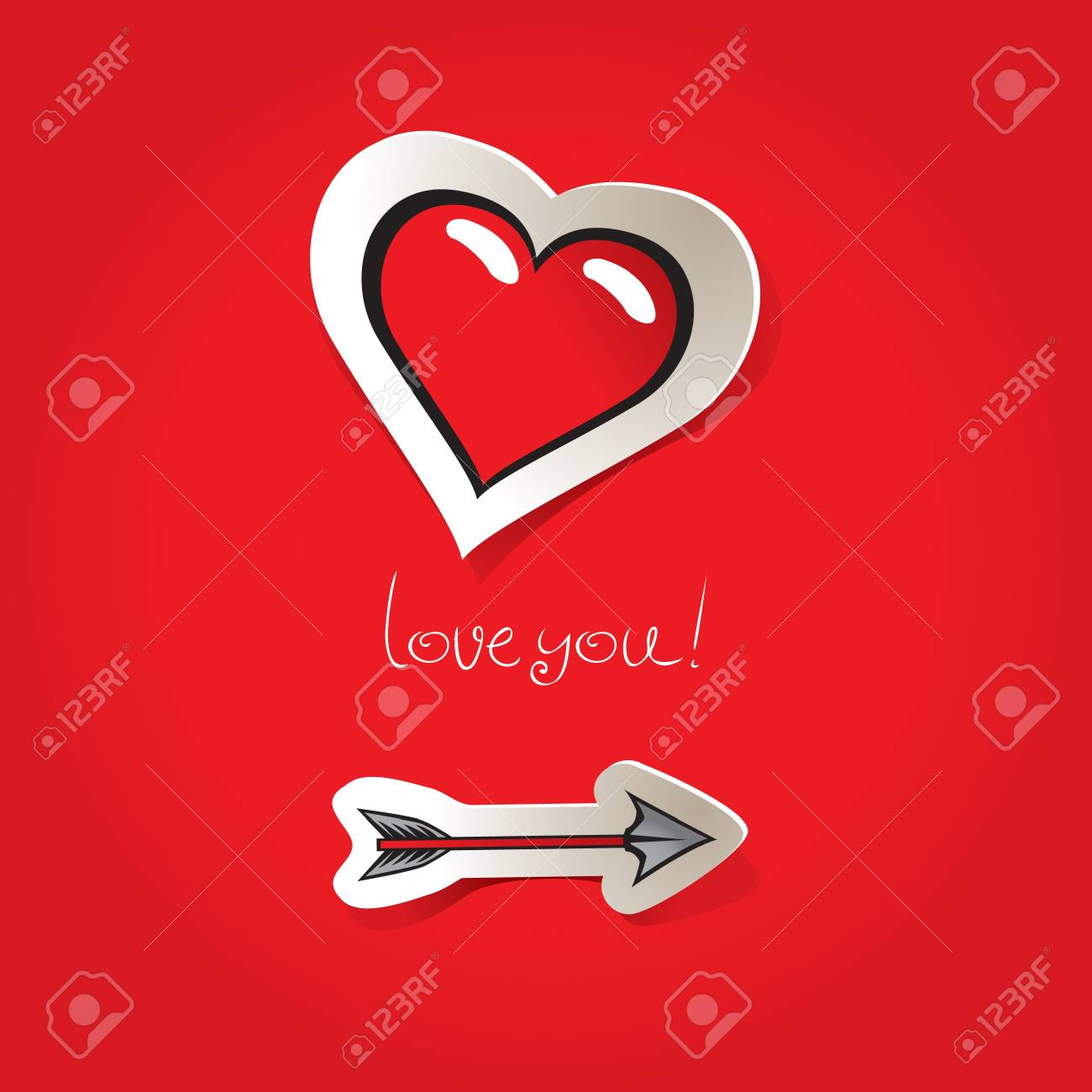 Valentine's Day card to an arrow and a heart Stock Vector - 11769172