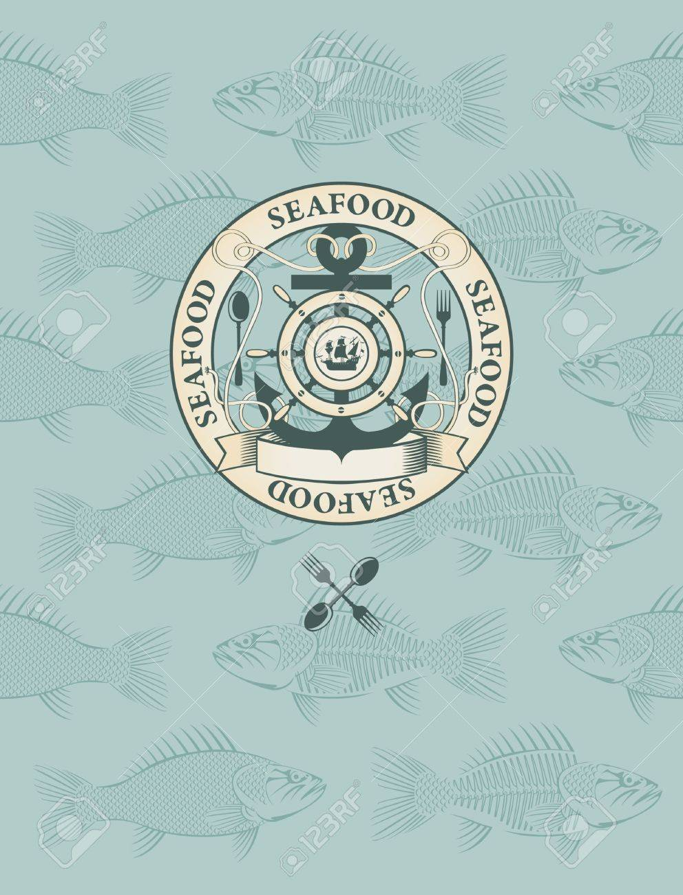 fish menu with the emblem of sail and anchor Stock Vector - 11650983