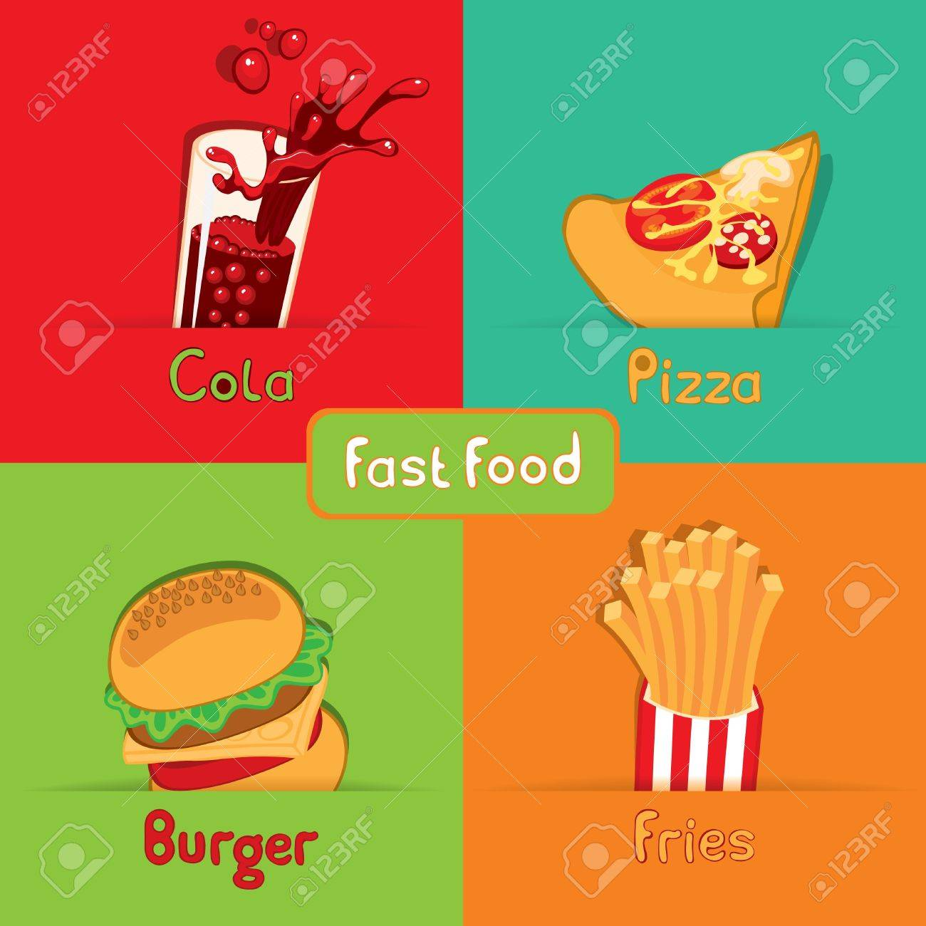 fast food from the four food Stock Vector - 11650966