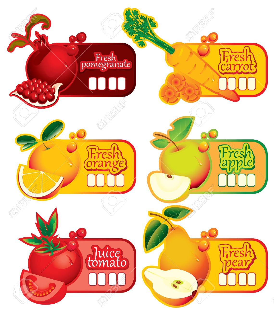 six price tag for juice and fresh juices Stock Vector - 11769173