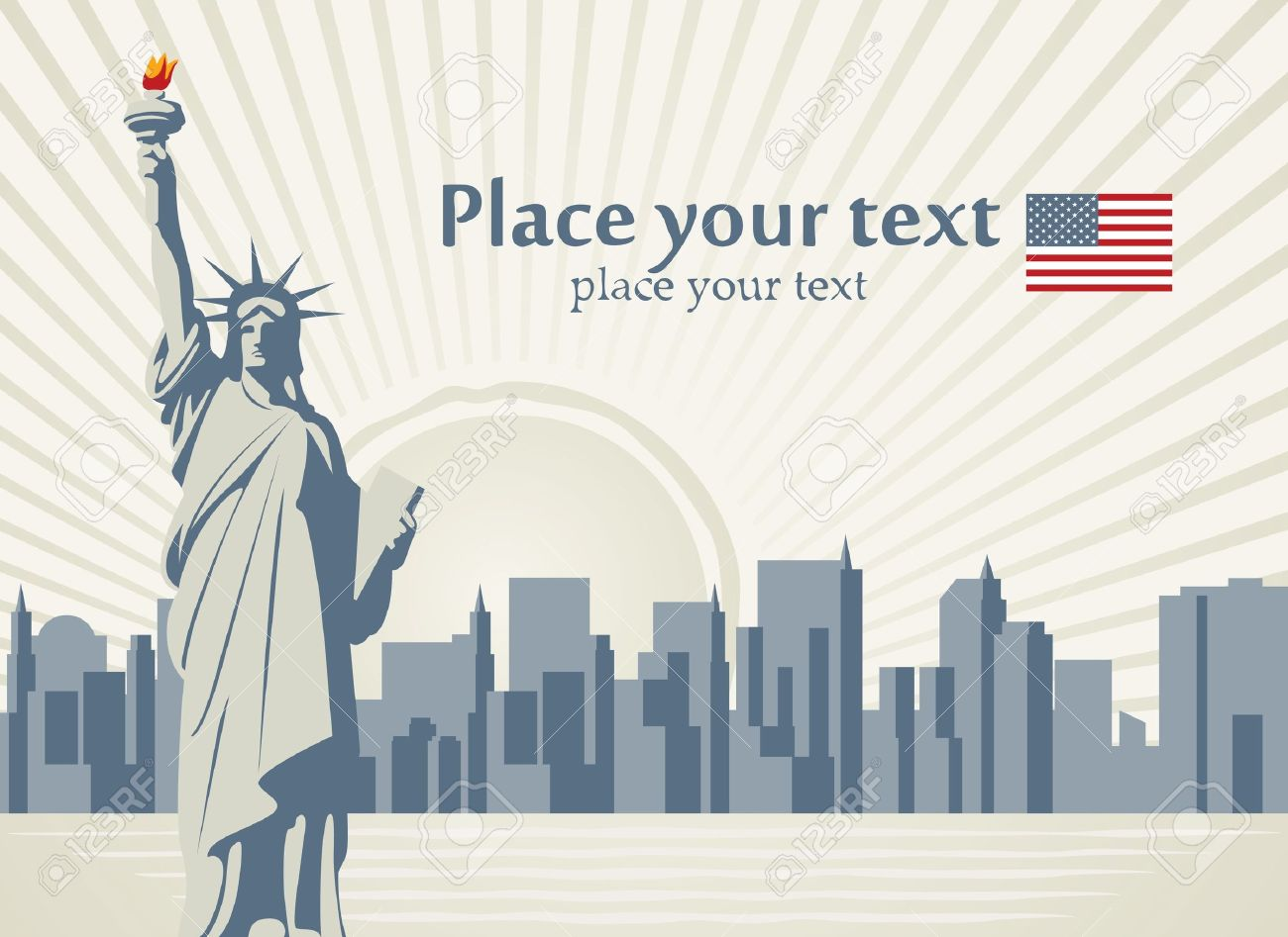 banner with statue of Liberty in background of New York Stock Vector - 12359626