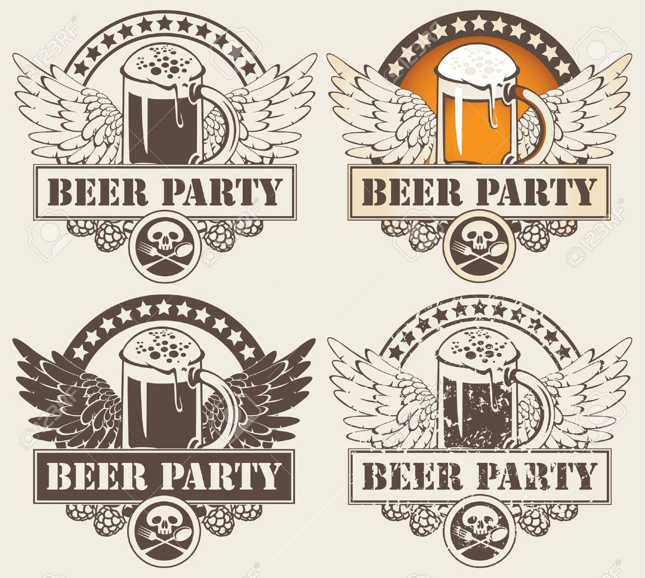 set of four banners with glass of beer and wings Stock Vector - 12803234