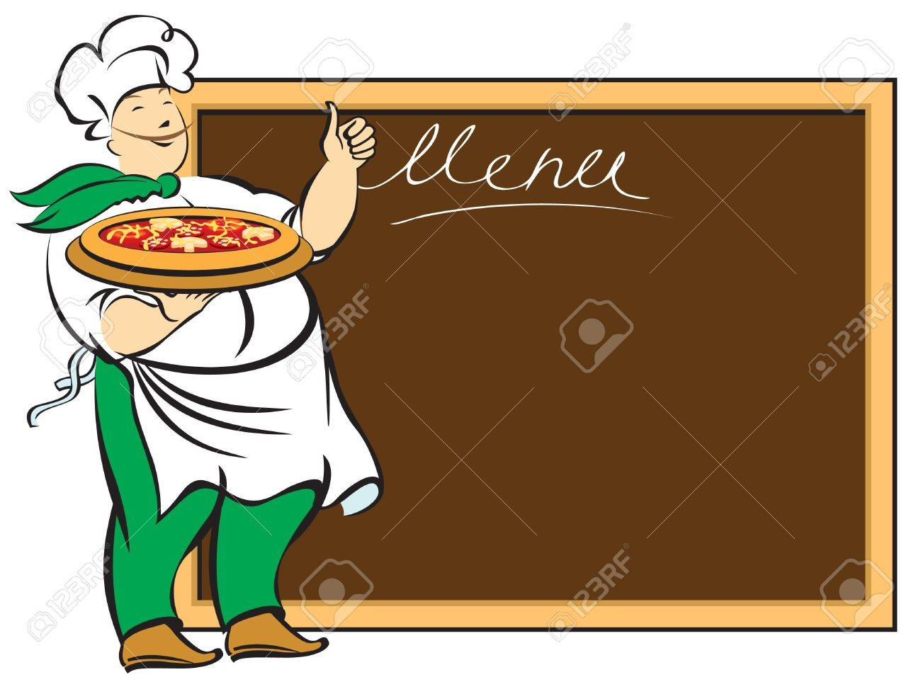 chef with menu board for Stock Vector - 12803237