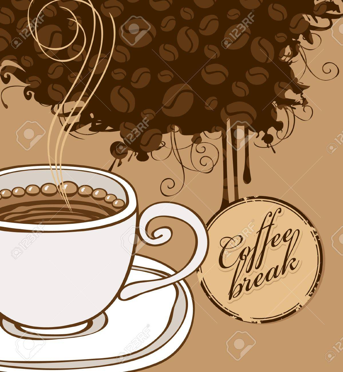 banner with cup of coffee and grains Stock Vector - 12965398