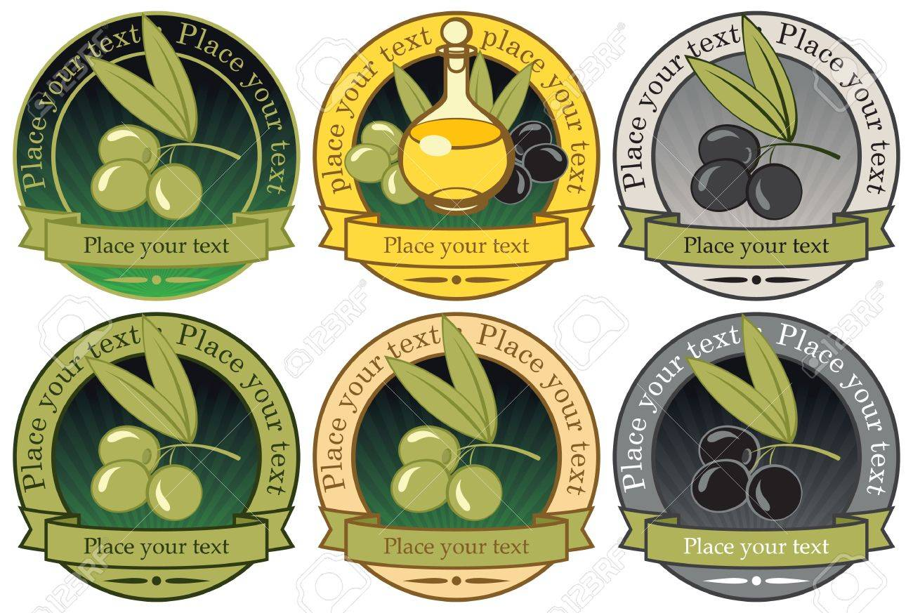set of labels for olive oils and Stock Vector - 13655740