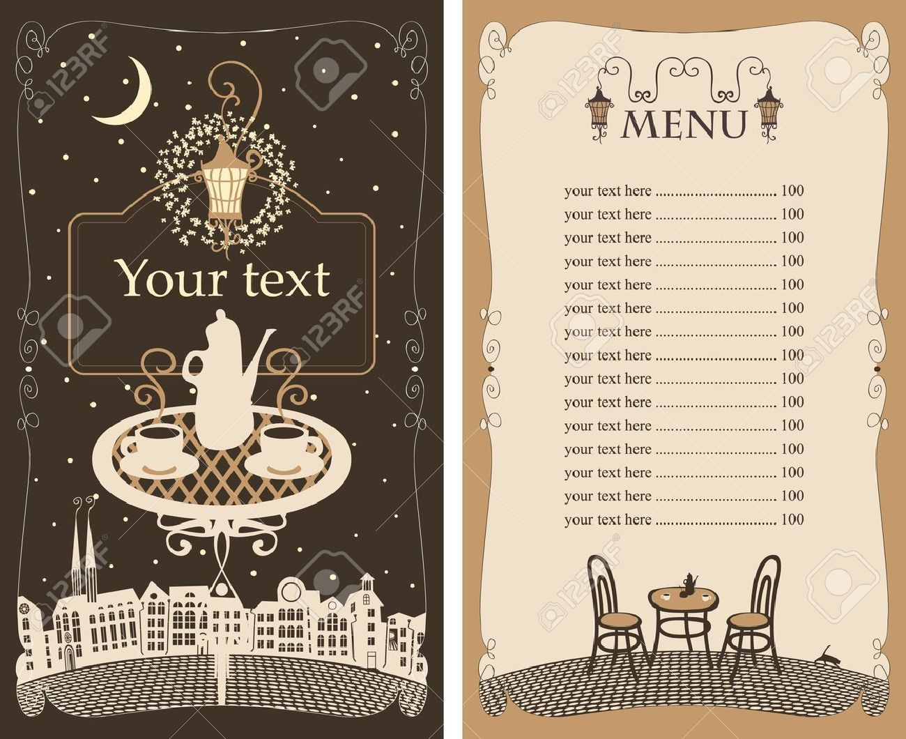 menu for the night cafe with table under lamp Stock Vector - 13732560