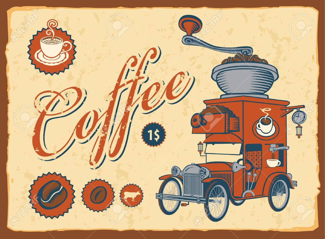 vintage car with coffee grinder on roof Stock Vector - 13773095