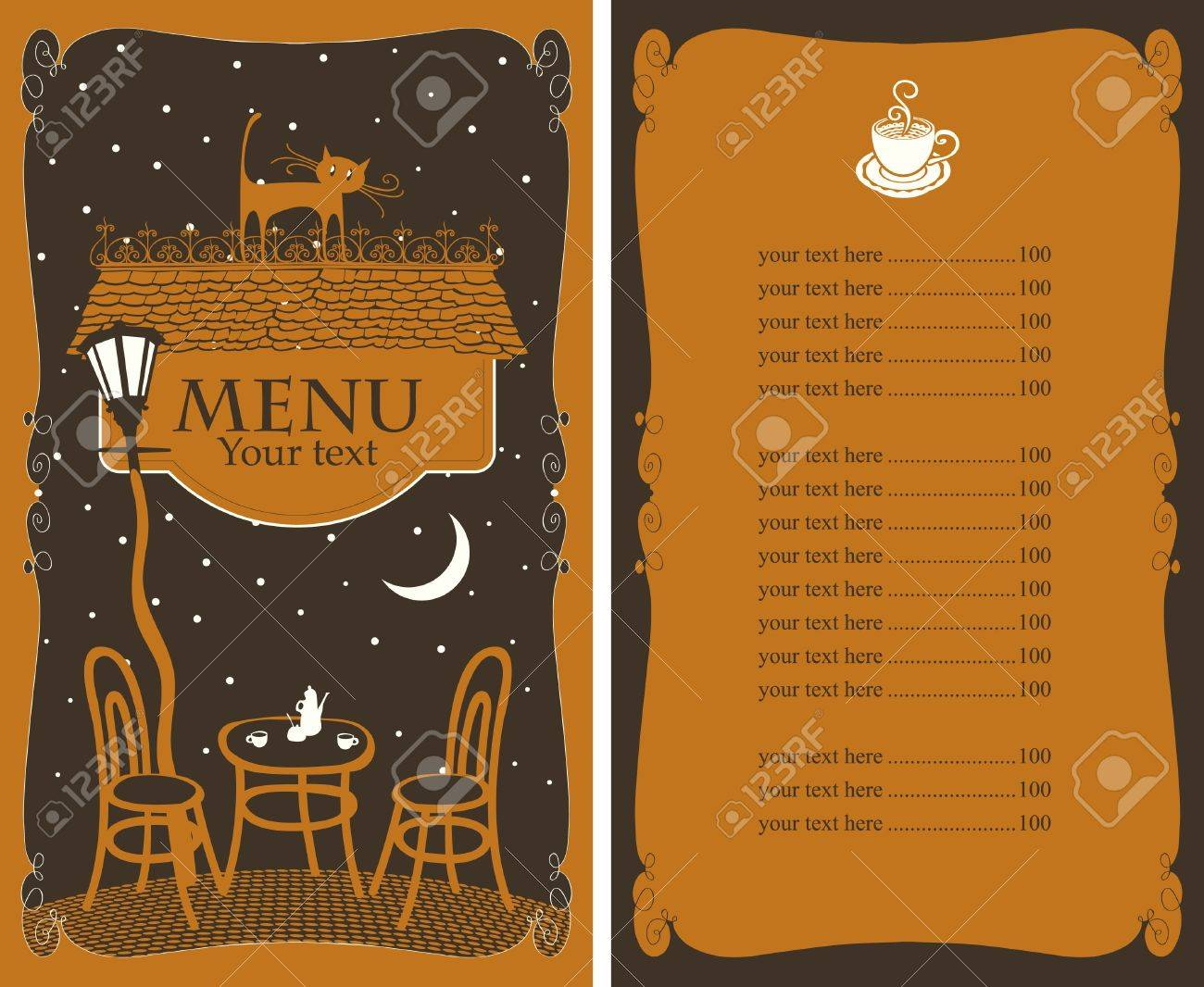 Menu For Cafe On Night Table Under Lamp Royalty Free Cliparts