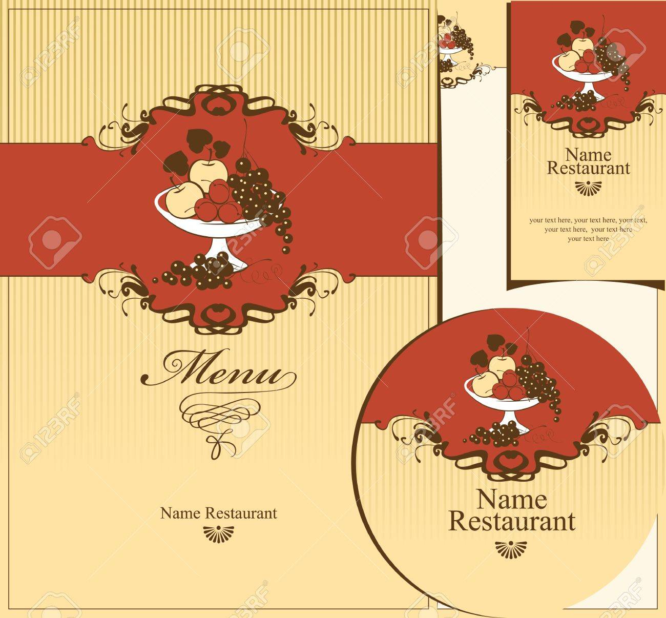 set of design elements for the restaurant. bowl of fruit Stock Vector - 14645285