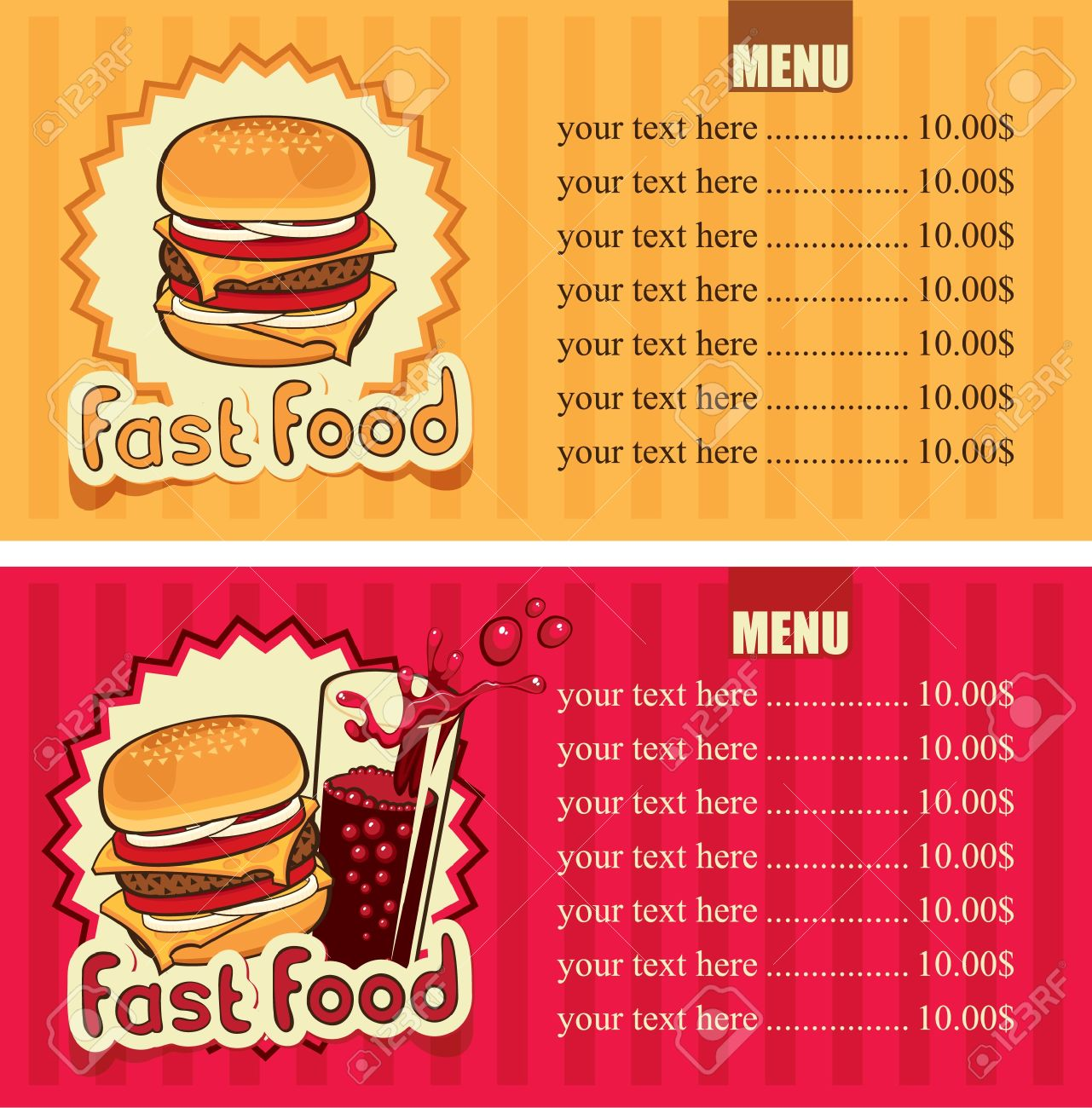 two banners for the fast-food with hamburger and cola Stock Vector - 14645291