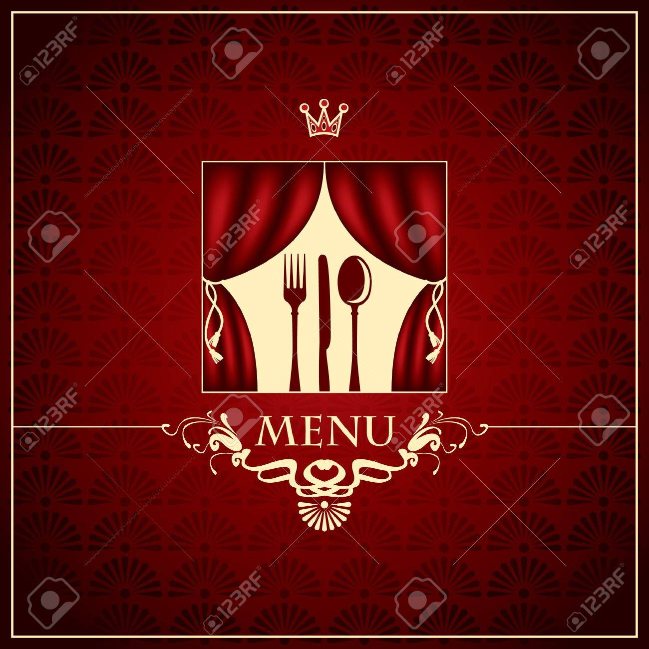 banner with the cutlery on the stage Stock Vector - 14890838