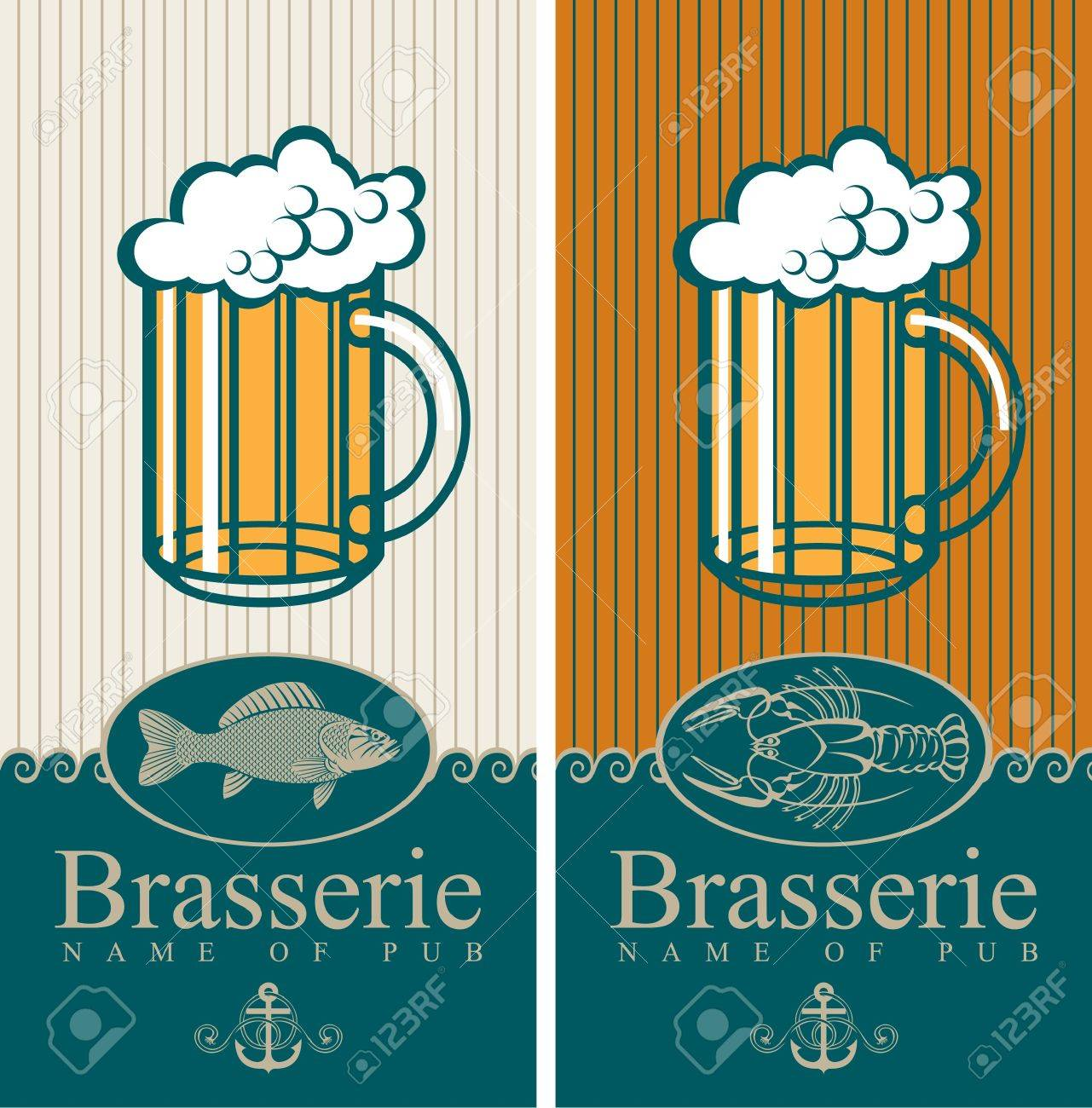 two banners with the beer and seafood Stock Vector - 14890841
