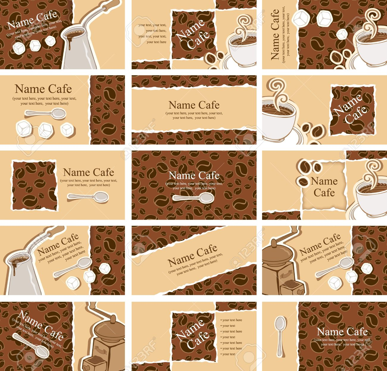 set of business cards on the coffee theme Stock Vector - 14966592