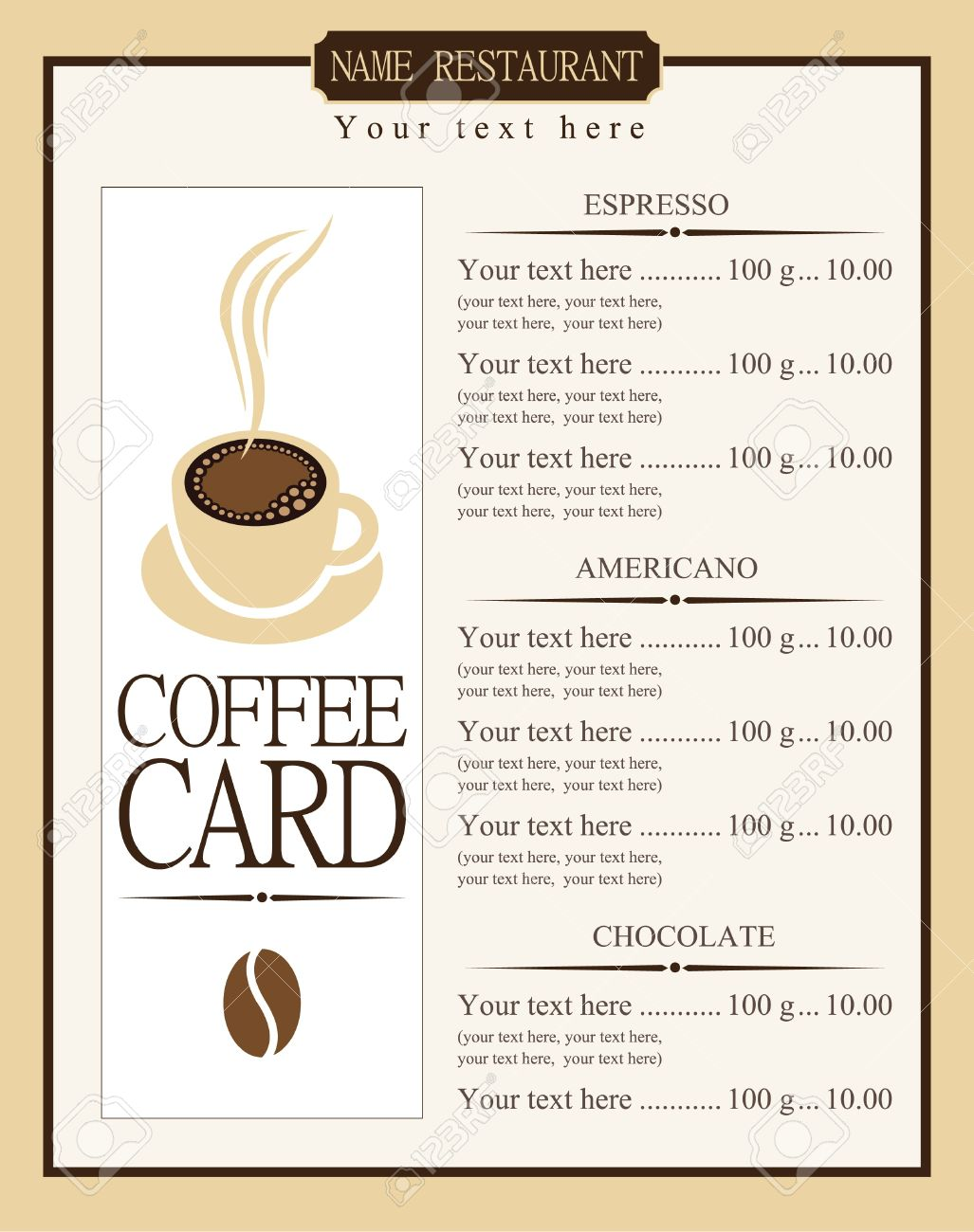 Menu List For Coffee Royalty Free Cliparts, Vectors, And Stock ...