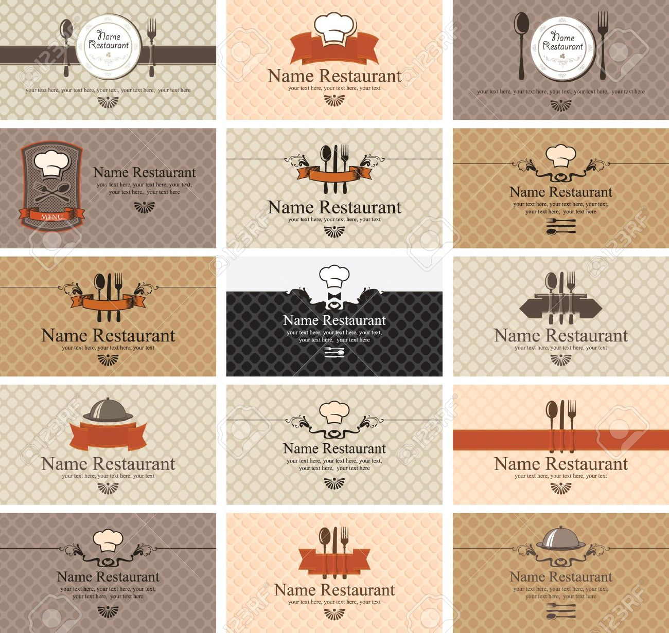 Set Of Business Cards On Food Royalty Free Cliparts, Vectors, And ...