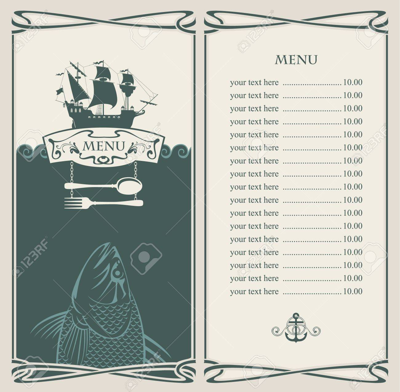 menu with sailboat and a fish in the ocean Stock Vector - 14966595