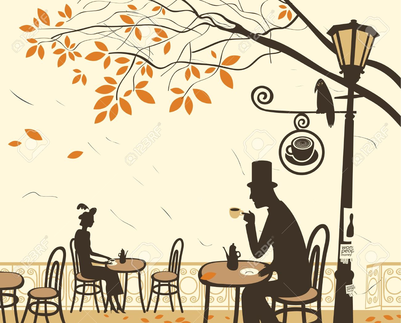 Autumn cafes and romantic relationship between man and woman Stock Vector - 15276292