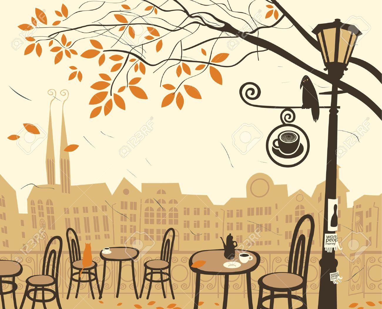 ストリート カフェのある秋の風景のイラスト素材 ベクタ Image