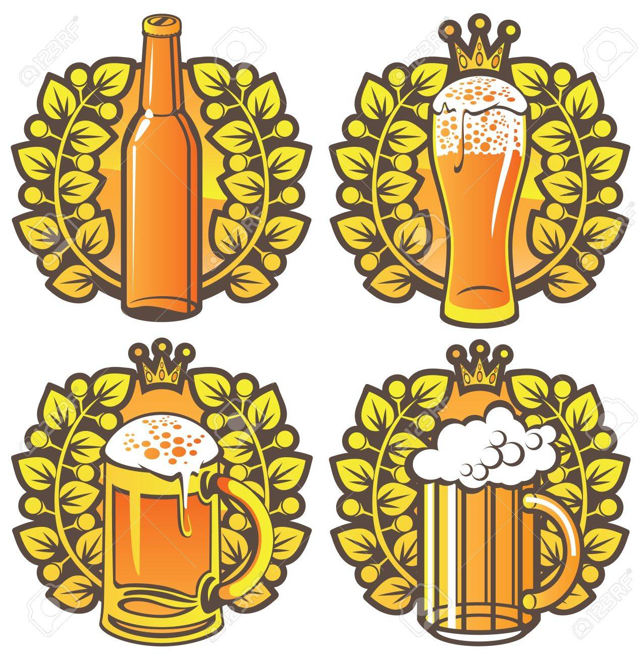 four banners on topic with beer glasses, bottle and laurel wreath Stock Vector - 15436227