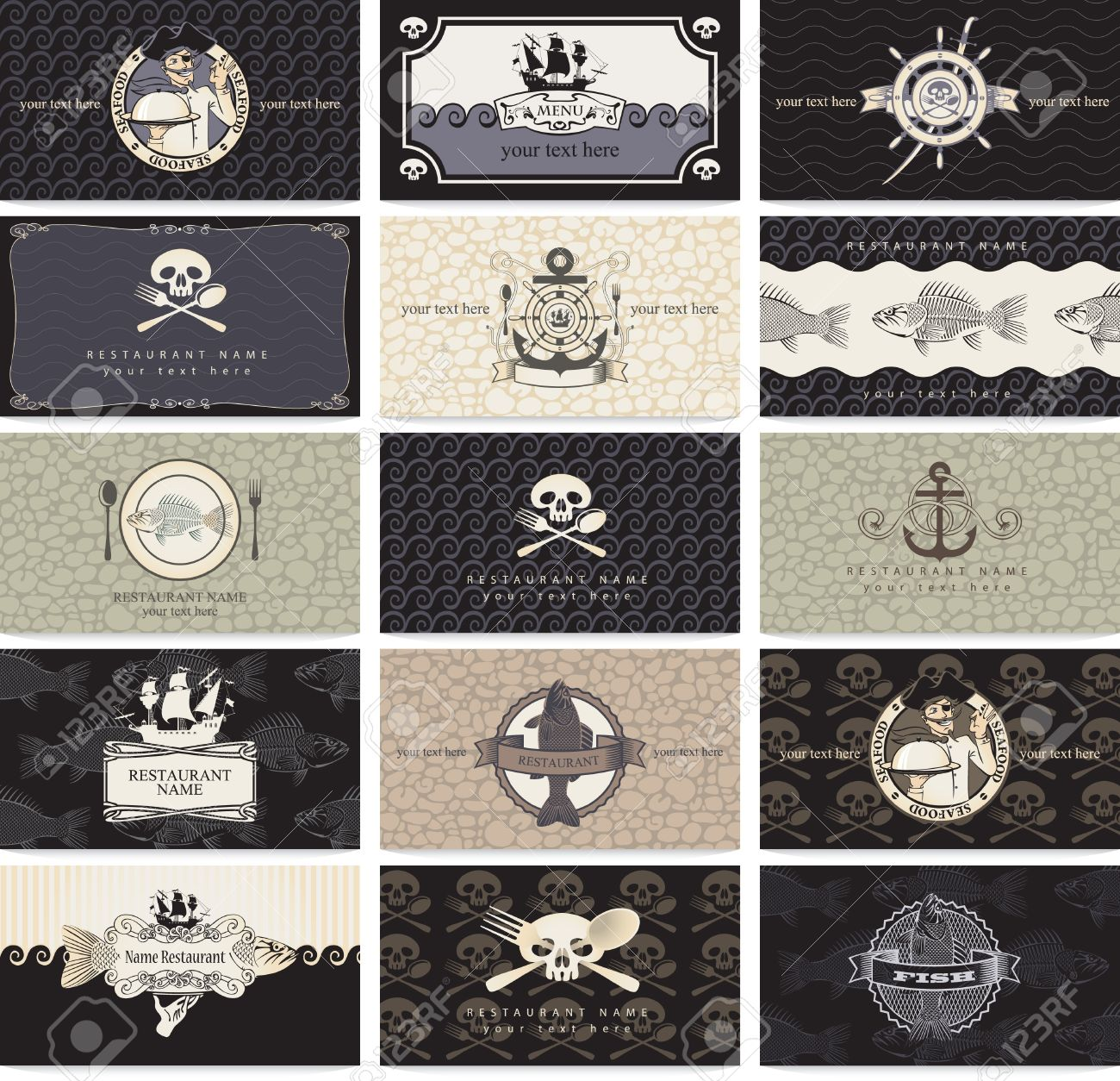 set of business cards for the pirate bar Stock Vector - 16040398