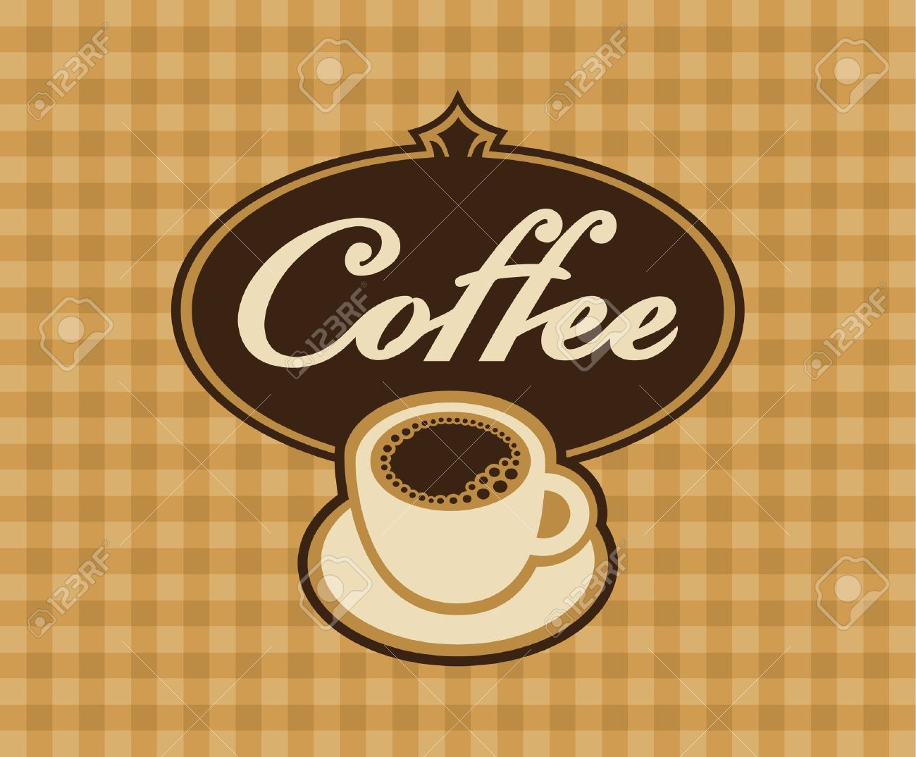 banner cup of coffee on a checkered background Stock Vector - 16139950