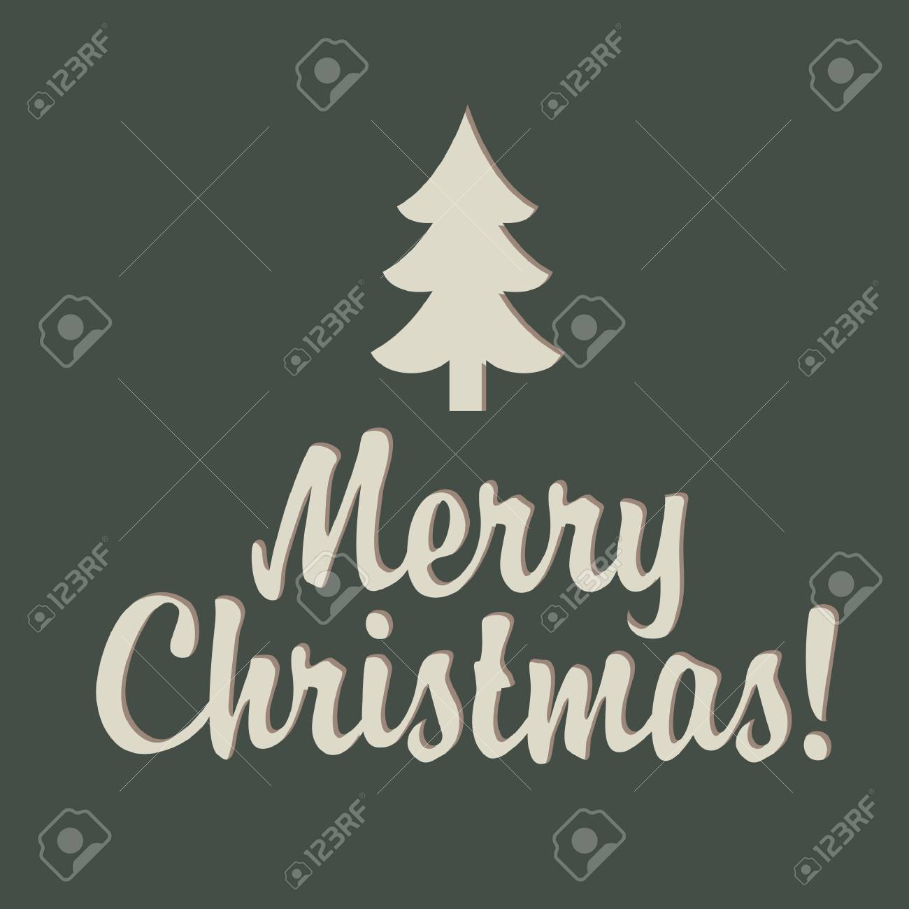 Merry Christmas sign with tree Stock Vector - 16520769