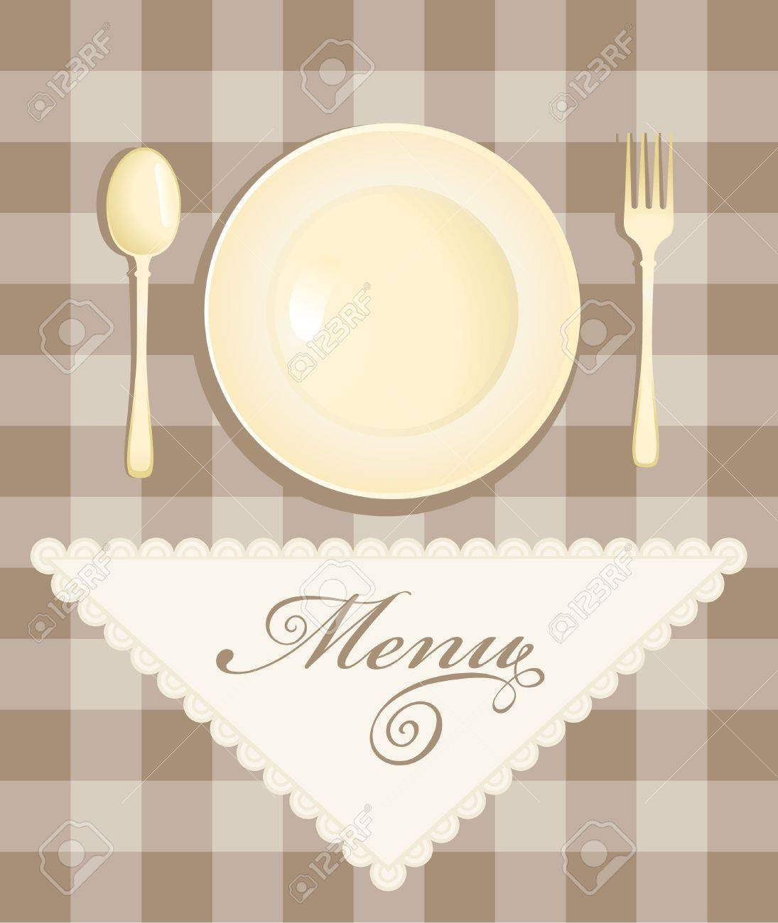 menu with cutlery on checkered background Stock Vector - 16999437