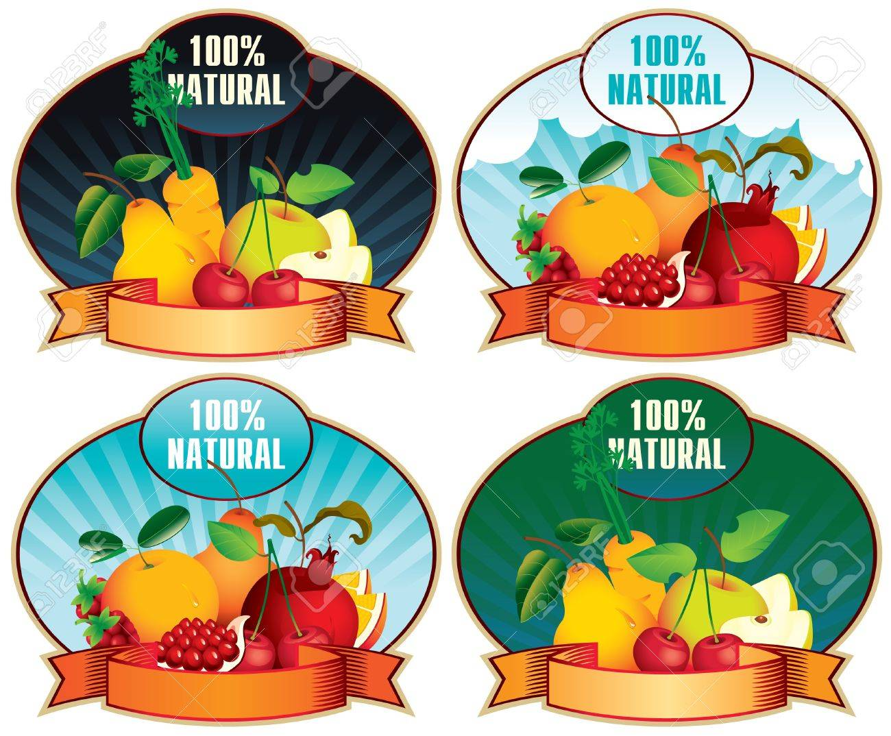 set of four stamps bearing fruit and labeled 100  Natural Stock Vector - 16999464