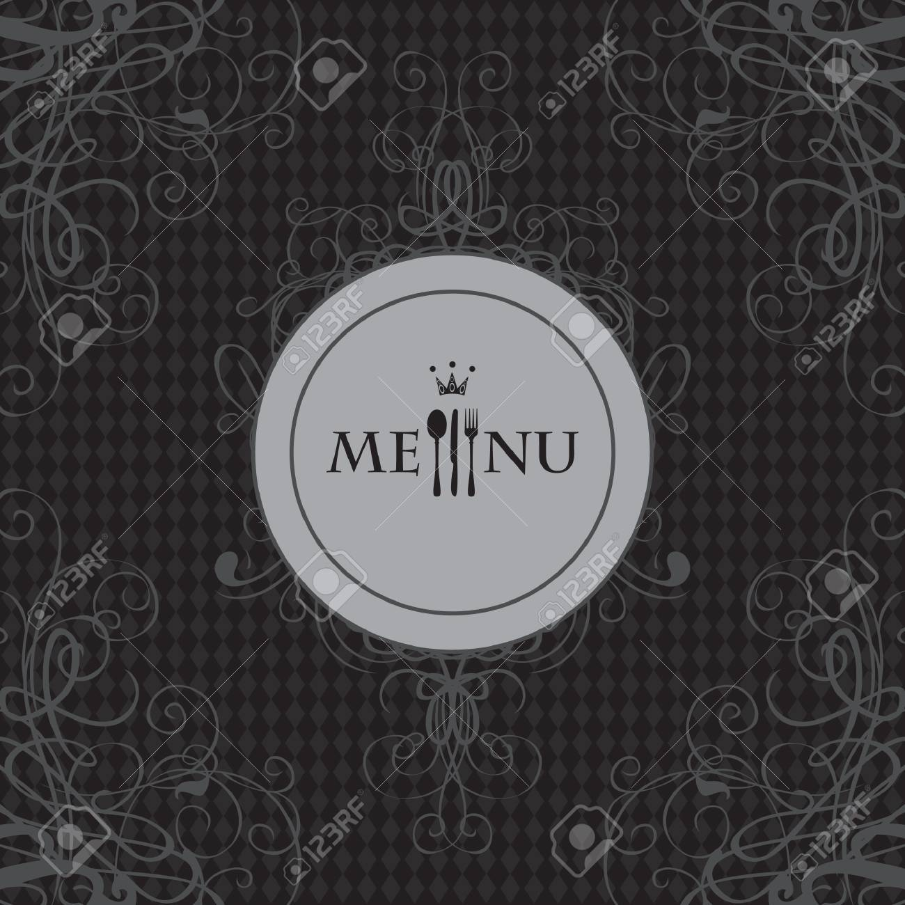 banner for the menu with cutlery and curls on a black background Stock Vector - 17270751