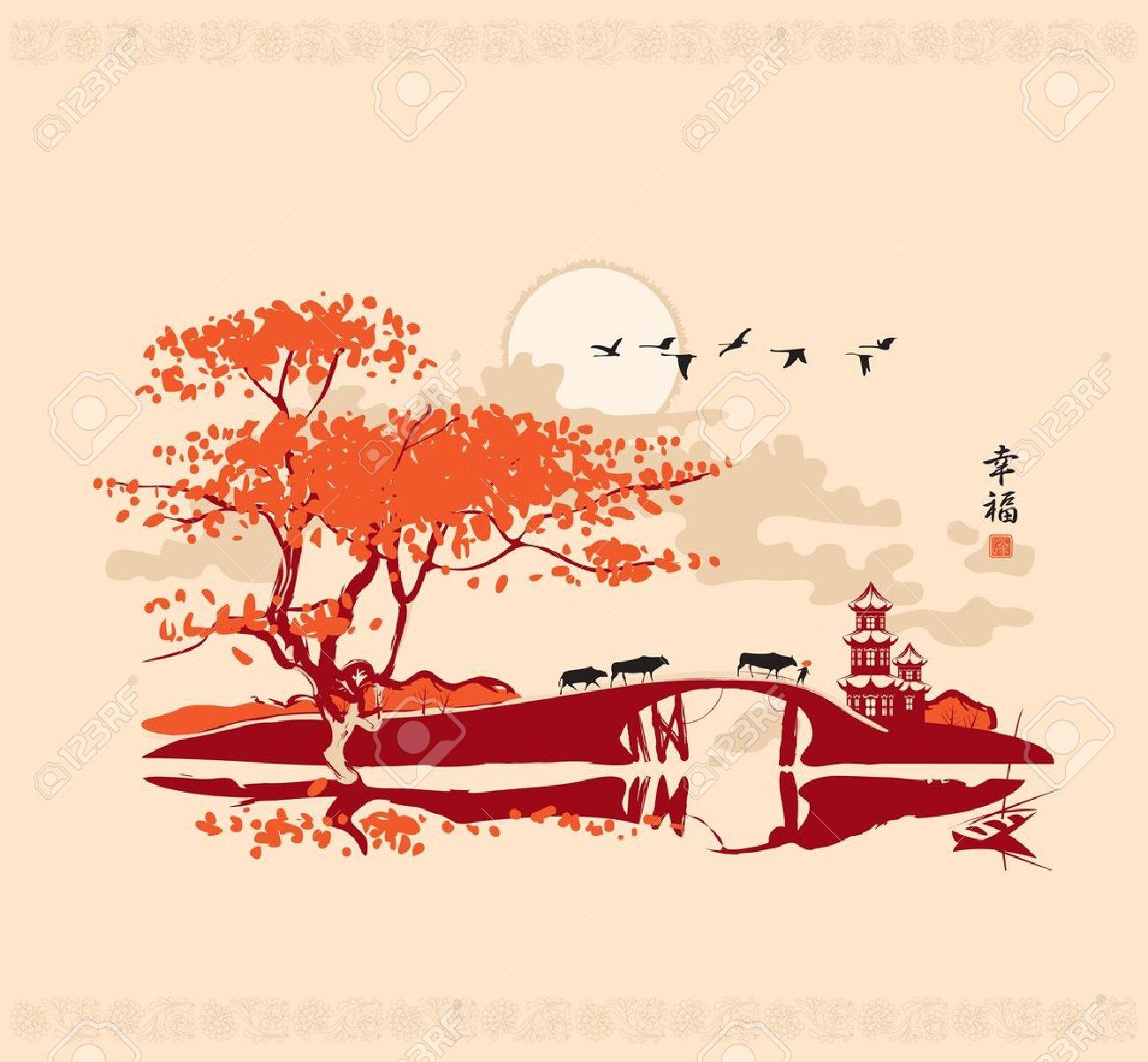 Chinesische Landschaft Mit Pagode Brücke Und Dem Rahmen Der Vögel ...