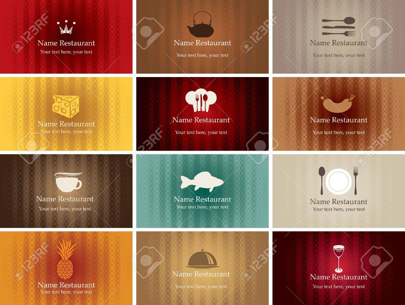 Set Of Business Cards On Food And Drink Royalty Free Cliparts ...