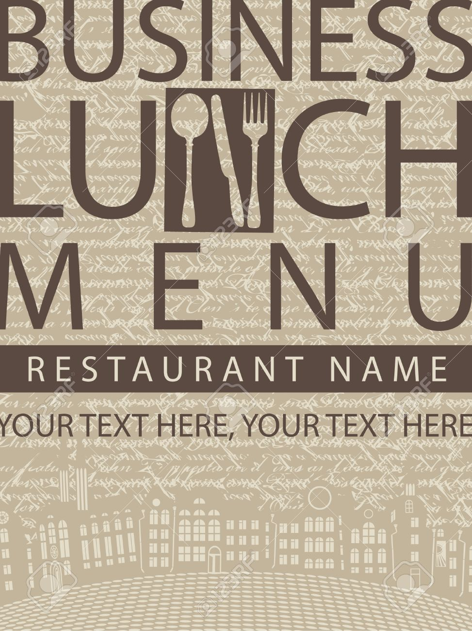 business lunch menu sign on a background of the manuscript and