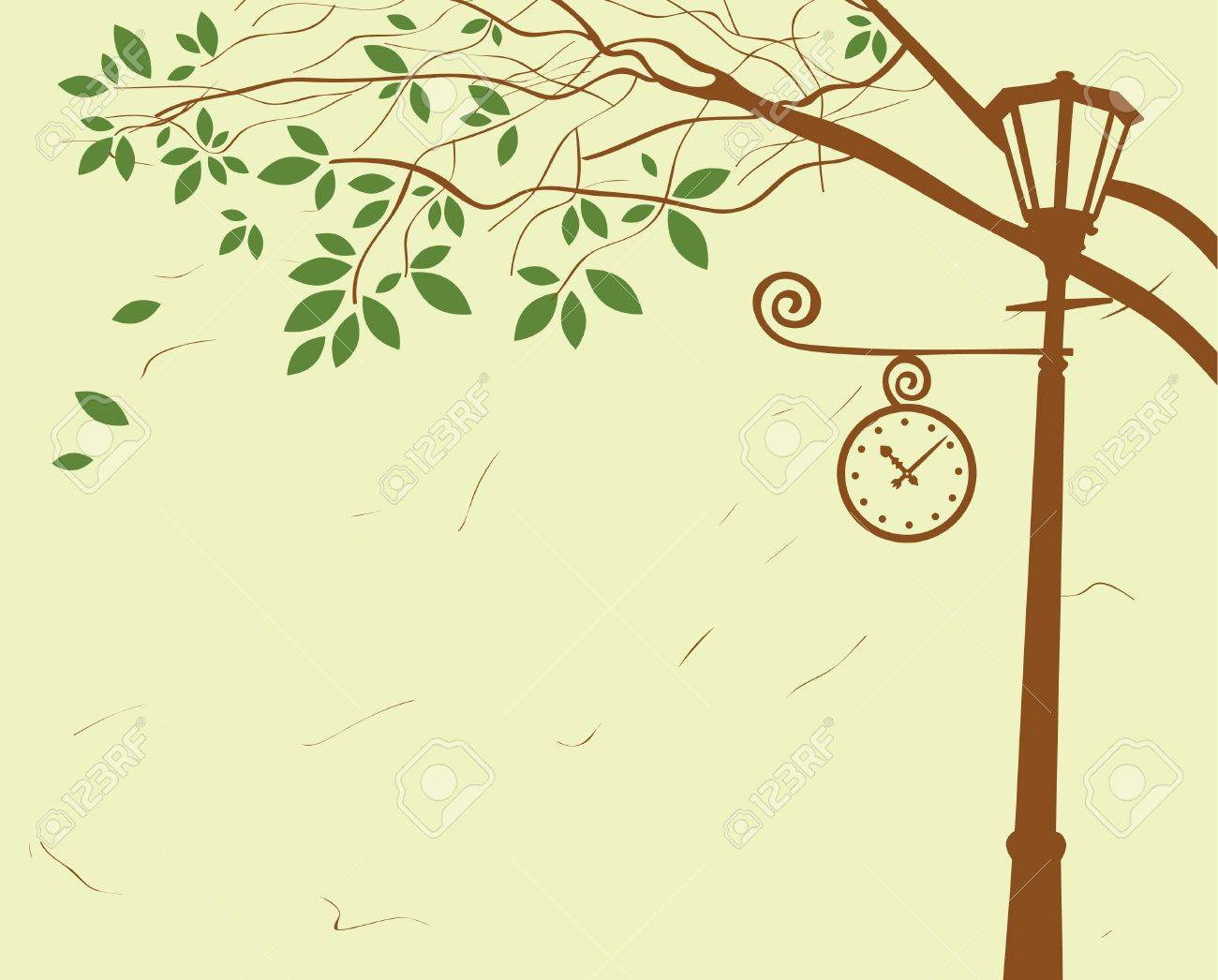 city park with lantern and clock under a tree Stock Vector - 18403956