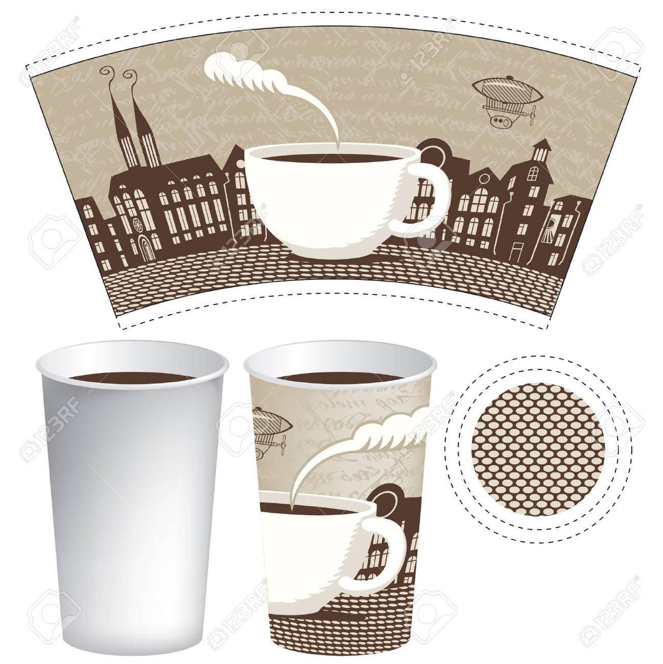 paper cup for tea or coffee with a picture of the old town - 18625123