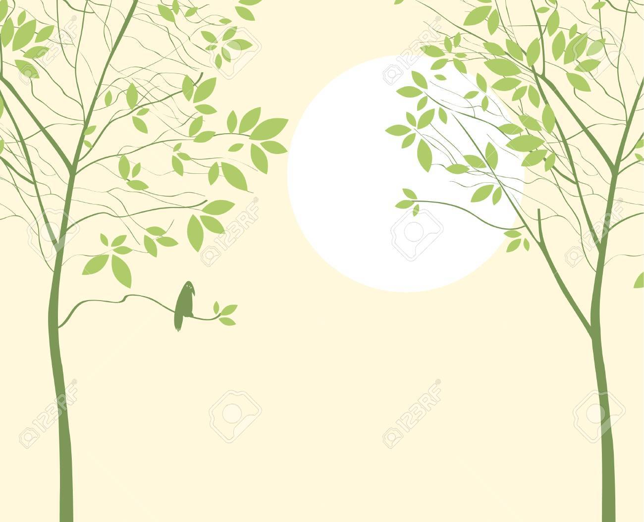 spring landscape with two trees sun and bird Stock Vector - 18754613