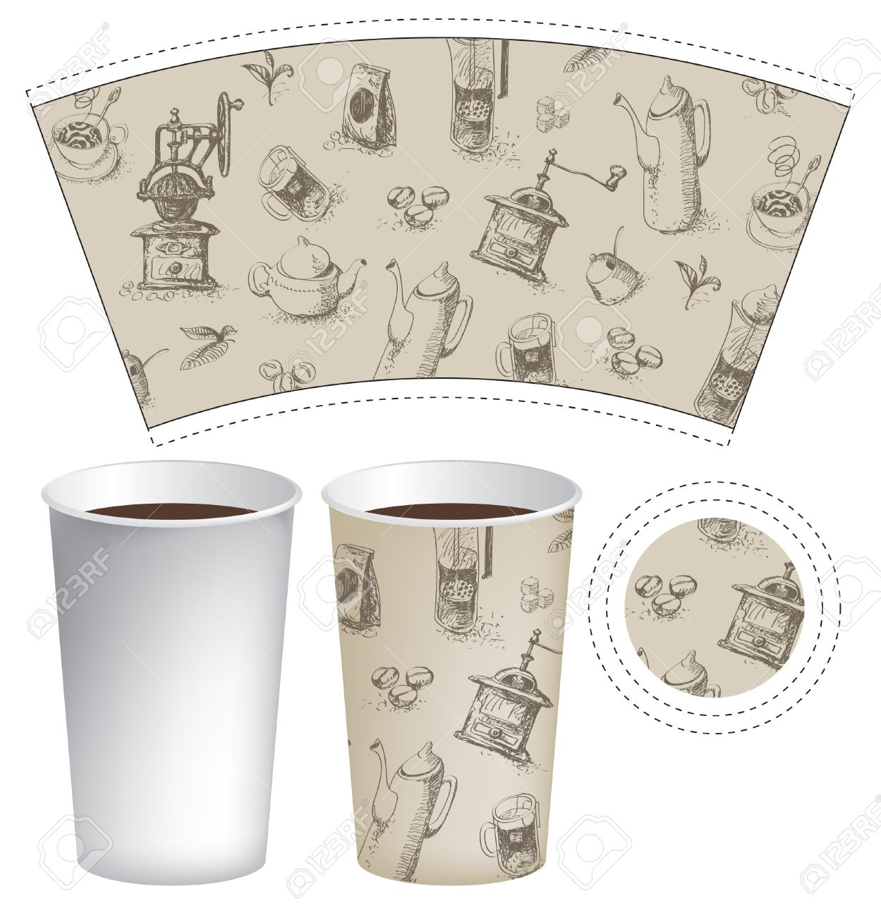 pattern cup of tea or coffee with the background of cookware Stock Vector - 18844518