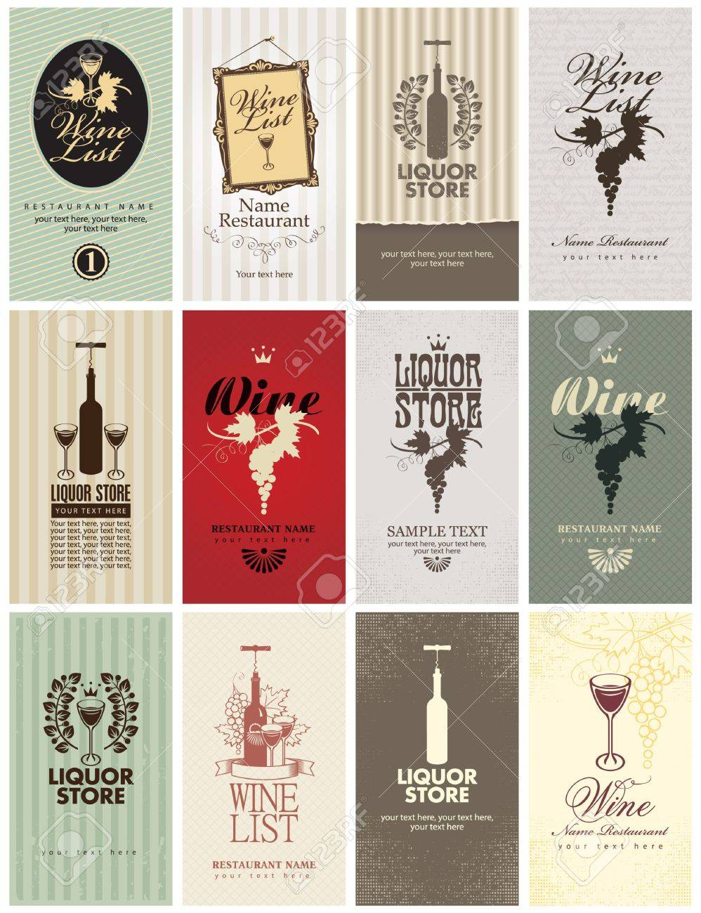 Set of business cards on wine royalty free cliparts vectors and set of business cards on wine stock vector 19022760 colourmoves