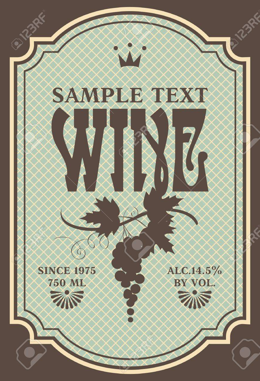 label for wine with a bunch of grapes in a retro style Stock Vector - 19022759