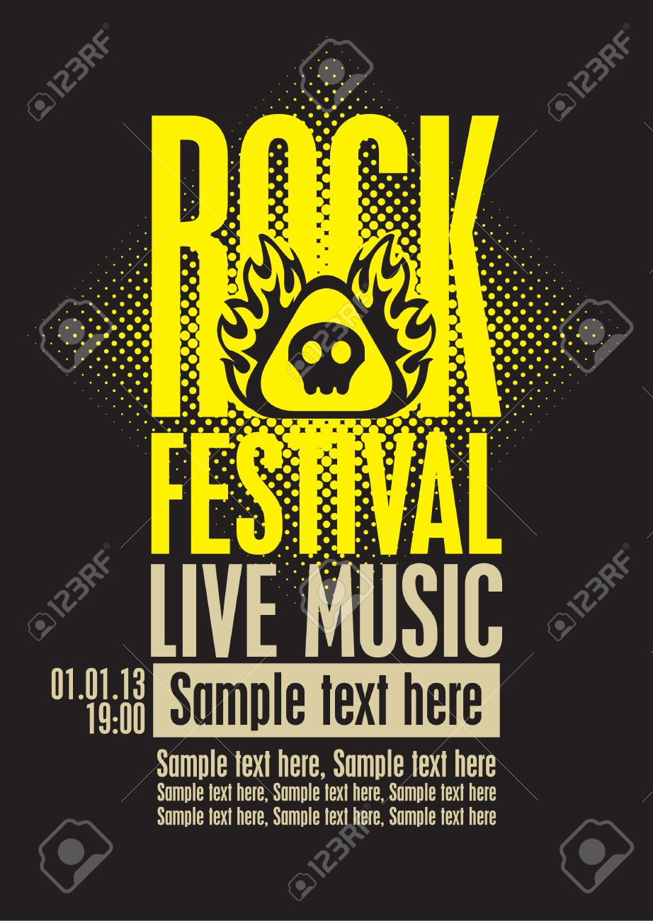 poster for a rock festival with skull on fire Stock Vector - 19314434