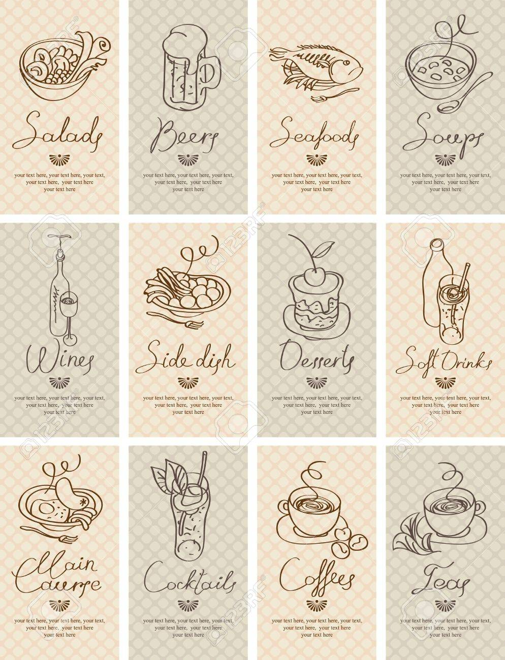 set of business cards with different dishes - 19912171