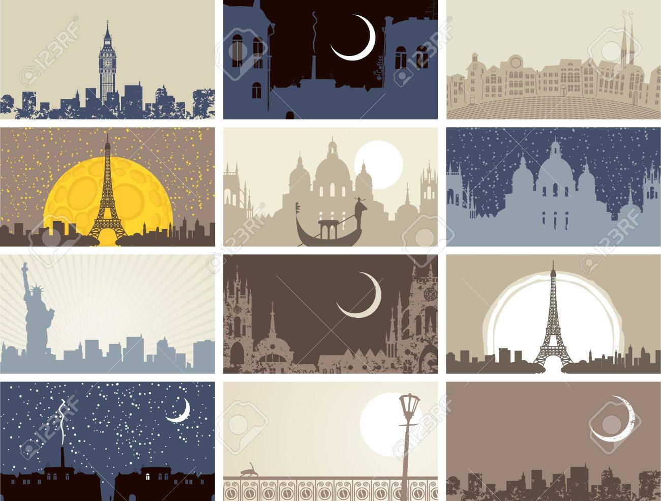 set of business cards with historic urban landscapes - 20322897